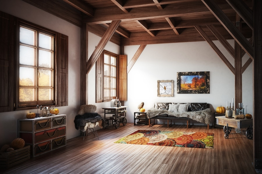 A cozy home interior adorned with fall decorations. Fall indoo